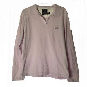Faconnable Womens Long Sleeve Lilac Polo Size S